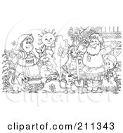Royalty Free RF Clipart Illustration Of A Coloring Page Outline Of A Happy Family By A Giant Turnip