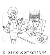 Coloring Page Outline Of A Woman Chatting With A Businsesman