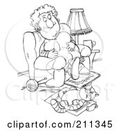 Royalty Free RF Clipart Illustration Of A Coloring Page Outline Of A Chubby Woman And Her Fat Cat Being Lazy by Alex Bannykh