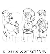 Royalty Free RF Clipart Illustration Of A Coloring Page Outline Of A Male Doctor Assisting A Couple by Alex Bannykh