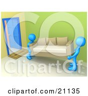 Clipart Illustration Of Two Blue Moving Men Carrying A Couch In Or Out Of A Doorway Symbolizing Delivery Or Reposession
