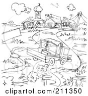 Royalty Free RF Clipart Illustration Of A Coloring Page Outline Of A Truck Driving Down A Road