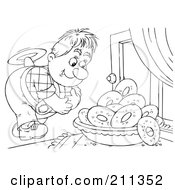 Royalty Free RF Clipart Illustration Of A Coloring Page Outline Of A Flyer Boy Admiring Donuts In A Window