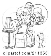 Royalty Free RF Clipart Illustration Of A Coloring Page Outline Of A Pill Talking To An Expecting Couple