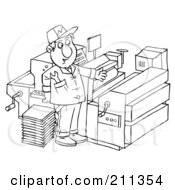 Royalty Free RF Clipart Illustration Of A Coloring Page Outline Of A Man Repairing A Printing Press by Alex Bannykh