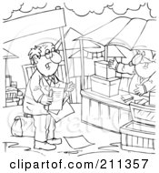 Royalty Free RF Clipart Illustration Of A Coloring Page Outline Of A Salesman Approaching A Vendor by Alex Bannykh