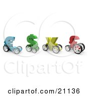 Clipart Illustration Of Colorful Currency Racing Cars In The Shape Of The Euro Dollar Yen And Pound Ready For A Race
