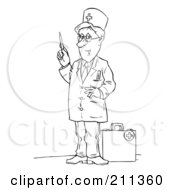 Royalty Free RF Clipart Illustration Of A Coloring Page Outline Of A Doctor Standing By A Medical Bag by Alex Bannykh