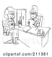 Coloring Page Outline Of A Woman Talking To A Doctor In An Office
