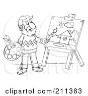 Royalty Free RF Clipart Illustration Of A Coloring Page Outline Of A Male Artist Painting A House by Alex Bannykh