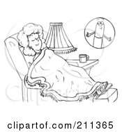 Royalty Free RF Clipart Illustration Of A Coloring Page Outline Of A Woman Dreaming Of A Pill by Alex Bannykh