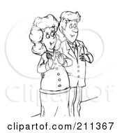 Royalty Free RF Clipart Illustration Of A Coloring Page Outline Of A Happy Couple The Woman Pregnant by Alex Bannykh