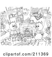 Royalty Free RF Clipart Illustration Of A Coloring Page Outline Of Three Pigs Sitting Around A Fireplace by Alex Bannykh