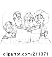 Coloring Page Outline Of A Granny Reading A Story To A Family