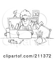 Coloring Page Outline Of A Businessman Reading At A Desk