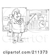 Royalty Free RF Clipart Illustration Of A Coloring Page Outline Of A Businessman Presenting Graphs And Charts by Alex Bannykh