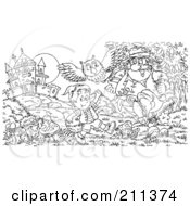 Royalty Free RF Clipart Illustration Of A Coloring Page Outline Of An Evil Man Chasing A Boy By A Castle by Alex Bannykh