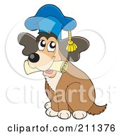 Royalty Free RF Clipart Illustration Of A Cute Dog Teacher With A Diploma In His Mouth by visekart