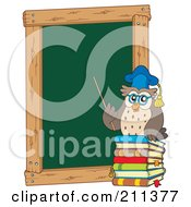 Royalty Free RF Clipart Illustration Of An Owl Teacher With Books By A Chalk Board by visekart