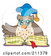 Royalty Free RF Clipart Illustration Of An Owl Teacher Over An Open Book