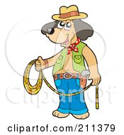 Cowboy Dog Standing And Holding A Lasso