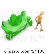 Clipart Illustration Of An Orange Man In Pain Trying To Pull Needles Out Of His Butt After Sitting On A Cactus Couch