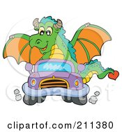 Royalty Free RF Clipart Illustration Of A Green Dragon Driving A Little Purple Car