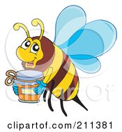 Royalty Free RF Clipart Illustration Of A Honey Bee Carrying A Jar