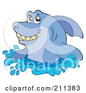 Royalty Free RF Clipart Illustration Of A Grinning Shark Looking Out Of Water by visekart