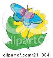 Royalty Free RF Clipart Illustration Of A Butterfly Resting On A Yellow Flower by visekart