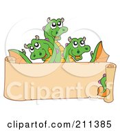 Royalty Free RF Clipart Illustration Of A Three Headed Dragon Behind A Blank Scroll Banner