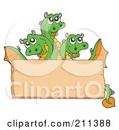 Royalty Free RF Clipart Illustration Of A Three Headed Dragon Behind A Blank Wood Sign Board by visekart