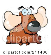 Royalty Free RF Clipart Illustration Of A Fat Brown Dog Sitting With A Bone In His Mouth by Hit Toon