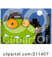 Royalty Free RF Clipart Illustration Of A Mobster Frog With A Cigar In The City by Hit Toon