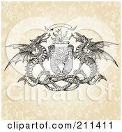 Royalty Free RF Clipart Illustration Of A Double Dragon And Floral Crest Design by BestVector