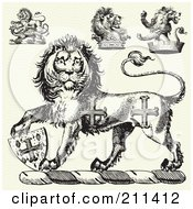 Royalty Free RF Clipart Illustration Of A Digital Collage Of Medieval Lion Designs by BestVector