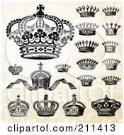 Royalty Free RF Clipart Illustration Of A Digital Collage Of Victorian Crowns