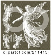 Royalty Free RF Clipart Illustration Of A Digital Collage Of Elegant Angels by BestVector