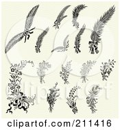 Royalty Free RF Clipart Illustration Of A Digital Collage Of Orante Floral And Feather Designs