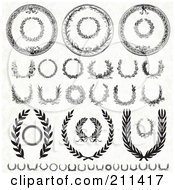 Royalty Free RF Clipart Illustration Of A Digital Collage Of Black And White Laurel Wreath Designs
