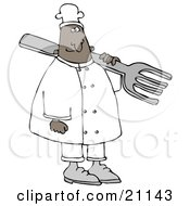 Black Chef Man In A White Uniform And Chefs Hat Carrying A Large Fork Over His Shoulder