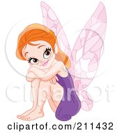 Happy Red Haired Fairy In A Purple Dress Resting Her Head On Her Knees