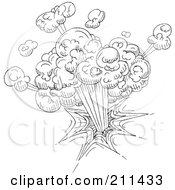 Royalty Free RF Clipart Illustration Of A Black And White Explosion Doodle Sketch by yayayoyo