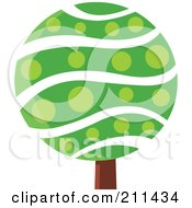 Royalty Free RF Clipart Illustration Of A Round Tree With Waves And Polka Dots