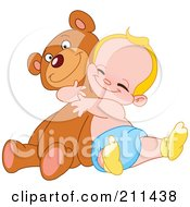 Blond Baby Boy Hugging A Big Teddy Bear