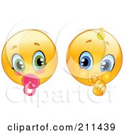 Digital Collage Of Baby Yellow Smiley Face Emoticons