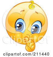 Royalty Free RF Clipart Illustration Of A Yellow Smiley Face Baby Emoticon Sucking Its Thumb
