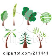 Royalty Free RF Clipart Illustration Of A Digital Collage Of Columnar Lush Round Palm And Redwood Trees