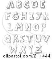 Royalty Free RF Clipart Illustration Of A Digital Collage Of Capital Sketched Letters by yayayoyo