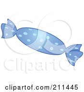 Royalty Free RF Clipart Illustration Of A Piece Of Hard Candy In A Blue Wrapper by yayayoyo